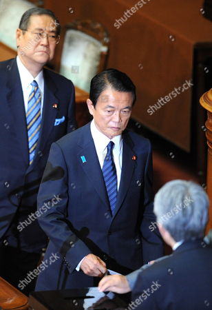 Out Going Japanese Prime Minister Taro Aso Placed His Vote For Prime Minister in the Japanese Diet Chambers in Tokyo Japan 16 September 2009 President of the Democratic Party of Japan Yukio Hatoyama Was Elected During the Special Parliamentary Session of the House of Representatives