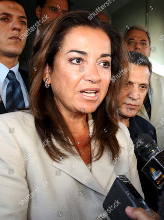 Greece's Foreign Minister Dora Bakoyianni Speaks During Press Briefing with Palestinian President Mahmoud Abbas 'Not Pictured' in Amman Wednesday 23 August 2006