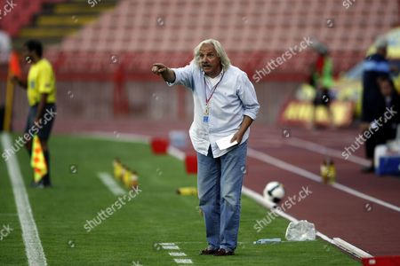 Stock Picture of Fk Vojvodina Coach Dragoslav Stepanovic Gestures On the Touchline During the Third Qualifying Round Match in the Europa League Against Austria Vienna in Belgrade Serbia 30 July 2009