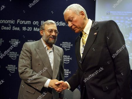 Us Senator Orin Hatch (r) Shakes Hands with Iranian Intellectual Mohammed Larijani (l) the Brother of Iran's National Security Advisor Ali Larijani Following a Discussion Titled 'Iraq: the Regional Security Dimension' On the Last Day of the World Economic Forum On the Middle East 2007 at the Dead Sea Jordan 20 May 2007 the Wef Gathers Together Renown Scholars Businessmen Media and Politicians to Discuss the Current Economic Political Social and Religious Issues in the Middle East