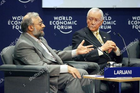 Us Senator Orin Hatch (r) Listens to Iranian Intellectual Mohammed Larijani (l) the Brother of Iran's National Security Advisor Ali Larijani During the Session 'Iraq: the Regional Security Dimension' On the Last Day of the World Economic Forum On the Middle East 2007 at the Dead Sea Jordan 20 May 2007 the Wef Gathers Together Renown Scholars Businessmen Media and Politicians to Discuss the Current Economic Political Social and Religious Issues in the Middle East