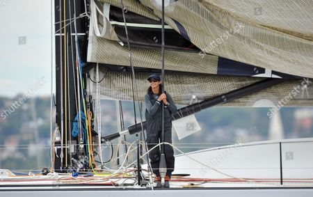 Seven Times World Surfing Champion Layne Beachley is Seen Aboard Investic Loyal Prior to the Start of the 66th Sydney to Hobart Yahct Race in Sydney Australia On 26 December 2010