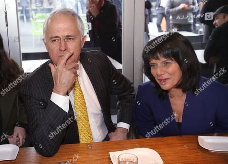 Australian Prime Minister Malcolm Turnbull (l) Stops For a Coffee and Listens to Locals with Liberal Candidate For the Federal Seat of Chisholm Julia Banks (r) During a Street Walk in Oakleigh in Melbourne's Southeastern Suburbs Victoria Australia 08 July 2016 Turnbull Who is in Melbourne to Meet with New Liberal Mps and Talk to Independent Cathy Mcgowan Remains On Track to Win As Many As 77 Seats As Vote Counting Continues But the Prime Minister Has Begun Hedging His Bets Holding Talks with Crossbenchers Ahead of Parliament Resuming in August