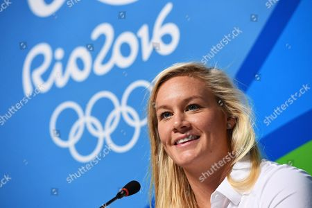 Australian Water Polo Player Rowie Webster Reacts During an Australian Olympic Committee (aoc) Press Conference at the Rio Olympic Games Main Press Centre in Rio De Janeiro Brazil 04 August 2016
