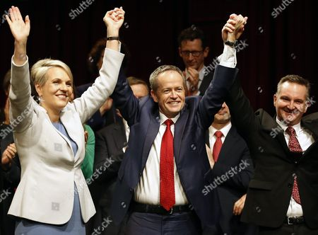 Australian Labor Party (alp) Leader Bill Shorten (c) Holds Hands with His Deputy Leader Tanya Plibersek (l) and Shadow Treasurer of Australia Chris Bowen During Their 2016 Election Campaign Launch at the Joan Sutherland Performing Arts Centre in Penrith Sydney New South Wales Australia 19 June 2016 the Australian Federal Election Will Be Held On 02 July