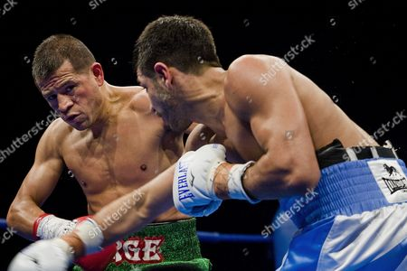 Australian Featherweight Boxer Billy Dib (r) Lands a Punch On Jorge Lacierva of Mexico For the Ibf (international Boxing Federation) World Featherweight Title at the State Sports Centre in Sydney Australia On 29 July 2011 Dib 25 From the Western Suburbs of Sydney Beat Jorge Lacierva 33 of Mexico in a Unanimous Points Decision