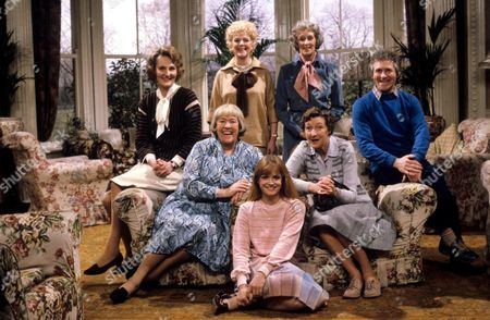 'You're Only Young Twice' Rear:Miss Milton [Charmian May], Dolly Love [Lally Bowers], Mildred Fanshaw [Diana King], Roger [Johnny Wade] Middle:Flora Petty [Peggy Mount], Cissie Lupin [Pat Coombs] Front:Miss Finch [Georgina Moon]