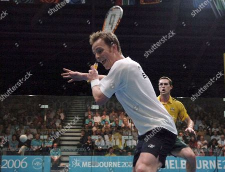 Stock Image of England's Peter Nicol in Action Against Australia's David Palmer at the Men's Singles Squash Event at the Commonwealth Games in Melbourne Monday 20 March 2006 Nicol Won the Match 1-3