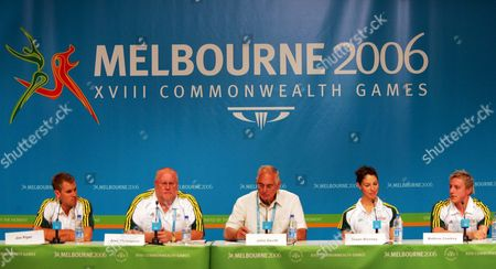 Australian Swimming Team Press Conference Attendees (l-r) Jim Piper Head Coach Alan Thompson Australian Team Chef De Mission John Devitt Acting Team Captain Giaan Rooney and Matthew Cowdrey During the Commonwealth Games Press Conference at the Melbourne Exhibition Centre Sunday 12 March 2006 Thompson Expects His 53-person Team to Be the Dominant Force of the Pool When the Commonwealth Games Start Later This Week
