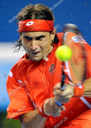 David Ferrer of Spain Returns to Vincent Spadea of the Usa During Their Third Round Match at the Australian Open Tennis Tournament in Melbourne Australia 20 January 2008 Ferrer Won the Match 6-3 6-3 6-2