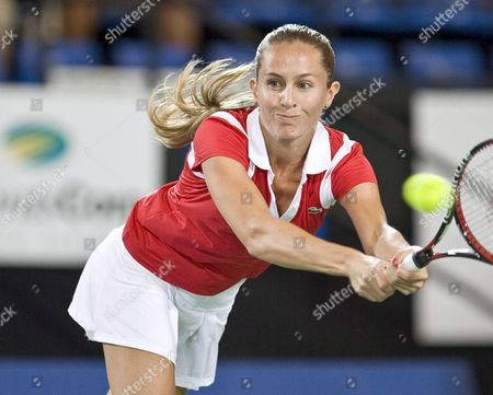 Gisela Dulko For Argentina in Action During Her Match Against Tatiana Golovin For France in the Womens Sinlges Match of the Hopman Cup in Perth Sunday Dec 30 2007 France Won the Match 6-4 6-3