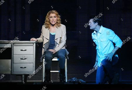 Rob Mills As 'Sam Wheat' (r) and Jemma Rix As 'Molly Jensen' Performing During a Media Call For 'Ghost the Musical' at the Regent Theatre in Melbourne Australia 05 February 2016 the Musical Runs at the Regent Theatre From 05 February Until 13 March