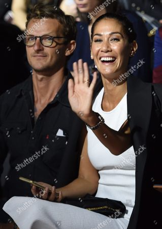 Former Model Lindy Klim (r) and Her Partner Adam Ellis Are Seen in the Front Row During the Australian Label Ginger & Smart's Show at the Mercedes-benz Fashion Week Australia in Sydney Australia 16 May 2016 the Show Runs From 15 to 20 May 2016