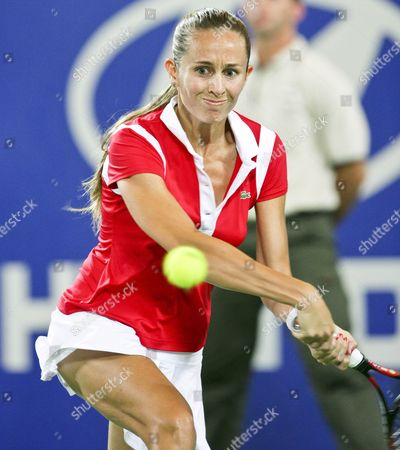 Gisela Dulko For Argentina in Action During Her Match Against Tatiana Golovin For France in the Womens Sinlges Match of the Hopman Cup in Perth Australia 30 December 2007