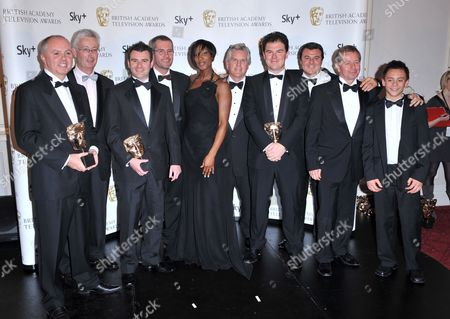 Denise Lewis and Steve Ryder (c) with ITV's Formula One cast