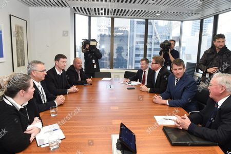 New South Wales (nsw) Premier Mike Baird (2-r) and Deputy Premier Troy Grant (3-r) Meet with Members of the Greyhound Industry in Sydney New South Wales Australia 14 July 2016 Baird Announced Last Week Plans to Shut Down the Sport in Nsw Following a Special Commission of Inquiry Report That Found 'Chilling' Evidence of Systemic Animal Cruelty Within the Industry