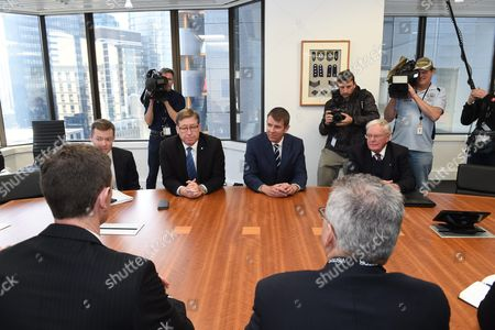 New South Wales (nsw) Premier Mike Baird (2-r) and Deputy Premier Troy Grant (2-l) Meet with Members of the Greyhound Industry in Sydney New South Wales Australia 14 July 2016 Baird Announced Last Week Plans to Shut Down the Sport in Nsw Following a Special Commission of Inquiry Report That Found 'Chilling' Evidence of Systemic Animal Cruelty Within the Industry