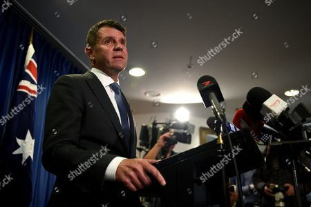 Nsw Premier Mike Baird Speaks to the Media in Sydney New South Wales Australia 11 October 2016 Baird Has Performed an Extraordinary Backflip On His Greyhound Racing Ban After Yielding to Sustained Industry and Media Pressure Saying 'He Got It Wrong '