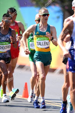Stock Photo of Jared Tallent of Australia Competes in the Men's 50km Race Walk of the Rio 2016 Olympic Games Athletics Track and Field Events in Pontal in Rio De Janeiro Brazil 19 August 2016