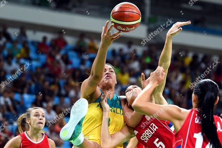 Elizabeth Cambage of Australia Challenges For the Ball Over Sonja Petrovich of Serbia During the Women's Basketball Quarterfinal Between Australia and Serbia at the Carioca Arena 1 in the Olympic Park in Rio De Janeiro Brazil 16 August 2016