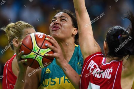 Elizabeth Cambage of Australia in the Women's Basketball Quarterfinal Between Australia and Serbia at the Carioca Arena 1 in the Olympic Park in Rio De Janeiro Brazil 16 August 2016
