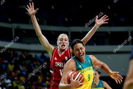 Danielle Page of Serbia (back) Challenges Elizabeth Cambage of Australia During the Women's Basketball Quarterfinal Between Australia and Serbia at the Carioca Arena 1 in the Olympic Park in Rio De Janeiro Brazil 16 August 2016