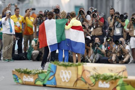Anna Van Der Breggen (c) of the Netherlands Emma Johansson (r) of Sweden and Elisa Longo Borghini of Italy (l) Pose For Photographers After the Medal Ceremony For the Women's Road Cycling Race of the Rio 2016 Olympic Games at Fort Copacabana in Rio De Janeiro Brazil 07 August 2016