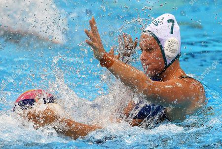 Rowie Webster of Australia in Action During the Women's Water Polo Quarterfinal Match of the Rio 2016 Olympic Games Between Australia and Hungary at the Olympic Aquatics Stadium in the Olympic Park in Rio De Janeiro Brazil 15 August 2016