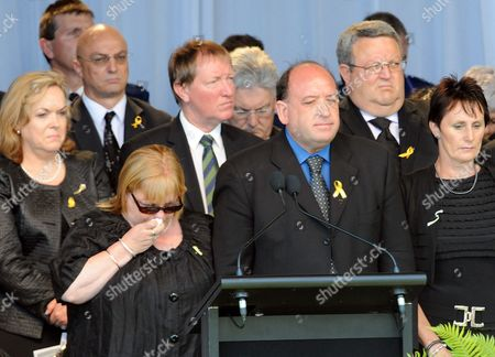 Stock Photo of Chief Executive of Pike River Coal Peter Whittall with His Wife Leanne As the Names of the Miners Are Read out at the Remembrance Service For the 29 Miners and Contractors Who Lost Their Lives in the Pike River Coal Mine Explosion Greymouth New Zealand 02 December 2010 the Service Began with Two Minutes of Silence Which Was Observed Nationally