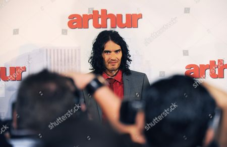 British Comedian Russel Brand Poses at the Premiere of His New Film Arthur in Sydney Australia 15 April 2011 Arthur Will Be Released in Cinemas Nationally On April 21