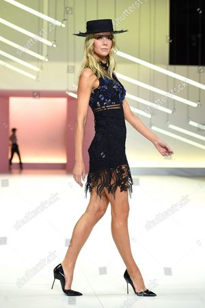 Australian Model Jennifer Hawkins Presents a Creation by Label Self Portrait During the Media Dress Rehearsal For the Myer Spring 16 Fashion Launch in Sydney Australia 23 August 2016