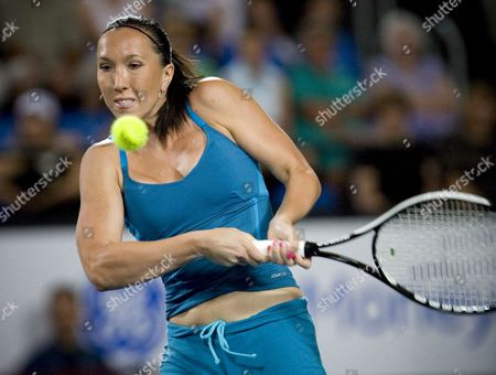 Serbia's Jelena Jankovic Returns a Ball During Her Match Against Tatiana Golovin of France During Session 7 of the Hopman Cup Tennis Tournament in Perth 02 January 2008 Jankovic Later Forfeited the Match Due to Injury