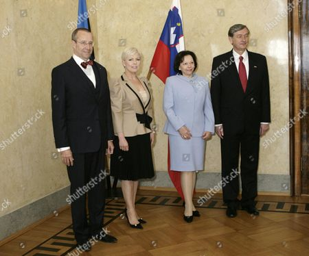 (l-r) Estonia's President Toomas Hendrik Ilves Evelin Ilves Barbara Miklic Turk and President of the Republic of Slovenia Danilo Turk During Meeting in Tallinn Estonia 05 May 2011 Danilo Turk is On a 2 Day Official Visit to Estonia the Slovenian President and Estonian Officials Discussed Bilateral Relations the Economic Management of the European Union Neighbourhood Policy As Well Un Security Council Reform Developments in the Western Balkans and Other Current Foreign Policy Topics