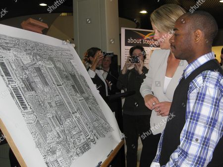 Autistic British Artist Stephen Wiltshire (r) with Nsw Premier Kristina Keneally (l) Attend the Unveiling of the Artwork at Customs House Circular Quay in Sydney Australia 30 April 2010 Twenty Minutes of Observation Was All the British Artist Needed Before Intricately Sketching Sydney's Skyline Entirely From Memory