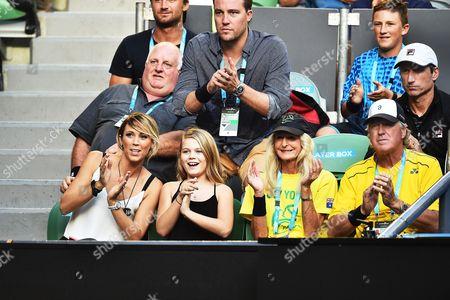 Bec Hewitt (l) Wife of Australian Tennis Player Lleyton Hewitt Watches the Second Round Match Between Hewitt and David Ferrer of Spain at the Australian Open Grand Slam Tennis Tournament in Melbourne Australia 21 January 2016