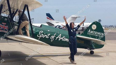 British Pilot Tracey Curtis-taylor Reacts After Landing Her Restored 1942 Boeing Stearman Spirit of Artemis at Sydney International Airport Australia 09 January 2016 Flying Three Months Over 23 Countries From Great Britain