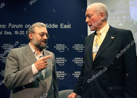 Iranian Intellectual Mohammed Larijani (l) the Brother of Iran's National Security Advisor Ali Larijani Points at Us Senator Orin Hatch (r) Following a Discussion Titled 'Iraq: the Regional Security Dimension' On the Last Day of the World Economic Forum On the Middle East 2007 at the Dead Sea Jordan 20 May 2007 the Wef Gathers Together Renown Scholars Businessmen Media and Politicians to Discuss the Current Economic Political Social and Religious Issues in the Middle East