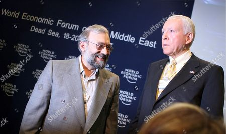 Iranian Intellectual Mohammed Larijani (l) the Brother of Iran's National Security Advisor Ali Larijani Looks at Us Senator Orin Hatch (r) Following the Session 'Iraq: the Regional Security Dimension' On the Last Day of the World Economic Forum On the Middle East 2007 at the Dead Sea Jordan 20 May 2007 the Wef Gathers Together Renown Scholars Businessmen Media and Politicians to Discuss the Current Economic Political Social and Religious Issues in the Middle East