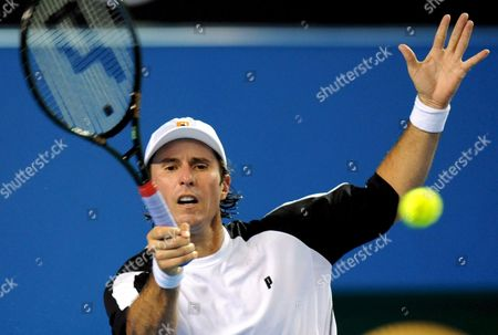 Vincent Spadea of the Usa Returns to David Ferrer of Spain During Their Third Round Match at the Australian Open Tennis Tournament in Melbourne Australia 20 January 2008 Ferrer Won the Match 6-3 6-3 6-2