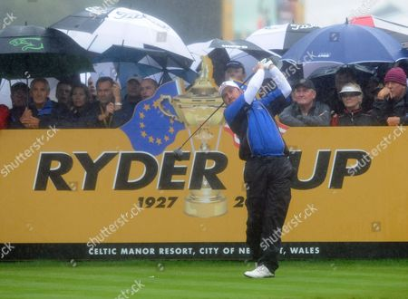 Europe's Graham Mcdowell Tees Off at the Fifth Moments Before Play is Suspended Due to Heavy Rain on the First Day of the Ryder Cup at Celtic Manor Golf Course Newport Wales 01 October 2010 United Kingdom Newport