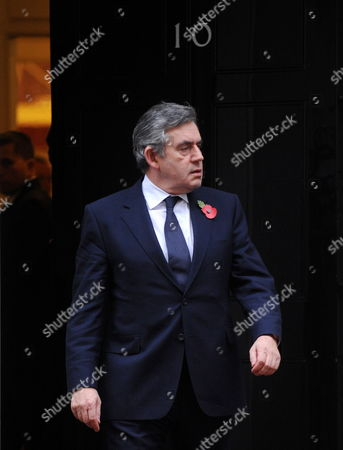 British Prime Minister Gordon Brown Outside 10 Downing Street in London Britain 10 November 2009 Gordon Brown Speaking at His Press Conference in Dowining Street Over the Controversy of a Misspelt Letter of Condolence to Jacqui Janes Following the Death of Her Son Guardsman Janes of 1st Battalion the Grenadier Guards who was Killed in an Explosion in October 2009 While on Foot Patrol in Helmand Province He Said That when He Spoke to Mrs Janes on 08 November 2009 'I Said i was Sorry if Any Offence Had Been Caused i Wanted to Assure Her That the Words i was Using Even if She Found Them Difficult to Read Were Sincerely Meant ' United Kingdom London