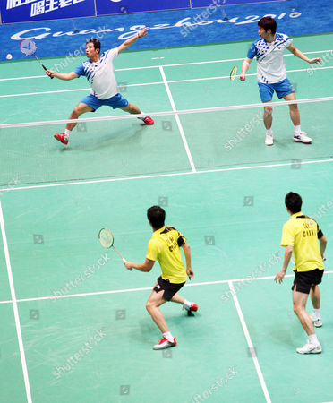 Jaesung Chung (l Back) and Yongdae Lee of South Korea in Action During Their Submatch Against Cai Yun and Fu Haifeng of China in the Men's Team Final at the 16th Asian Games in Guangzhou Southern China's Guangdong Province 15 November 2010 Chung and Lee Won 19-21 21-16 and 21-18 China Guangzhou