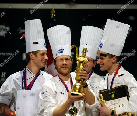 Danish Chef Rasmus Kofoed (2-l) Celebrates with His Team After Winning the Bocuse D'or During the 13th World Final of the International Culinary Competition Bocuse D'or in Lyon France 26 January 2011 France Lyon
