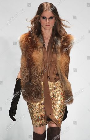 A Model Presents a Creation by Designer Elisabeth Schwaiger of German Fashion House Laurel at the Mercedes-benz Fashion Week Russia Fall-winter 2011/12 in Moscow Russia 01 April 2011 the Fashion Week Runs From 31 March to 05 April Russian Federation Moscow