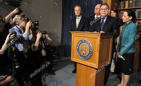 U S Rep Christopher Smith (republican / New Jersey) Makes Remarks on President Barack Obama's Signing an Executive Order on Abortion on Capitol Hill in Washington D C Usa 21 March 2010 Also Attending Are (l-r All Republicans) Rep Todd Akin (missouri) Rep Joseph Pitts (pennsylvania) Rep Cathy Mcmorris Rogers (washington) and Rep Jean Schmidt (ohio) Republicans Warned That the Executive Order Holds No Validity As Law and Democrats who Had Previously Planned to Vote Against the Health Care Reform Bill Now Appear to Accept Obama's Executive Order Which Bans Federally-funded Abortions Clearing the Way to Pass the Landmark Legislation with a Vote Late in the Day United States Washington