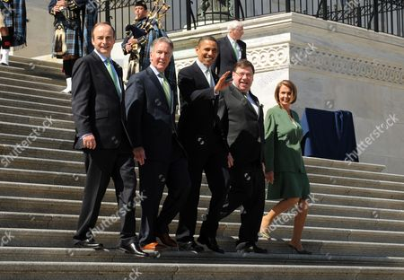 Us President Barack Obama (c) Leaves the Capitol Building with Prime Minister (taoiseach) of Ireland Brian Cowen (2-r) Speaker of the House Nancy Pelosi (r) Democratic Representative Richard Neal (2-l) of Massachusetts and Maryland Governor Martin O?malley (l) in Washington Dc Usa 17 March 2010 President Obama Attended the Friends of Ireland Luncheon on Capitol Hill to Celebrate St Patrick's Day United States Washington