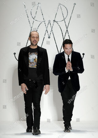 Designers Brian Wolk (l) and Claude Morais (r) Acknowledge the Crowd Following the Ruffian Show During the Second Day of Mercedes-benz Fashion Week at Lincoln Center in New York New York Usa 11 February 2011 Fall/winter Collections Are Being Presented During Fashion Week That Runs From 09 Until 17 February 2011 United States New York