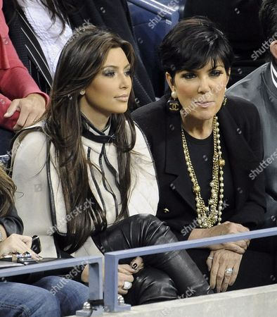 Stock Photo of Us Television Personality Kim Kardashian West (l) and Her Mother Kris Kardashian Watch As Rafael Nadal of Spain Plays Fernando Verdasco of Spain During Their Quarterfinal Round Match at the 2010 Us Open Tennis Championship at the Usta National Tennis Center in Flushing Meadows New York Usa 09 September 2010 the Us Open Championship Runs Through 12 September when the Men's Final is Scheduled to Be Played United States Flushing Meadows