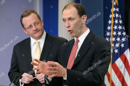 White House Economic Adviser Austan Goolsbee (r) and White House Press Secretary Robert Gibbs (l) Deliver Remarks to the Press During a News Conference at the White House in Washington Dc Usa 21 January 2010 the Obama Administration Proposes Financial Reform Regulations That Include Stricter Limitations on Potentially High-risk Bank Investments United States Washington