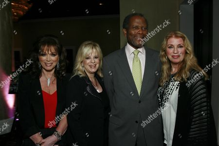 Jackie Collins, Laura Lizer, Sidney Poitier and Joanna Shimkus